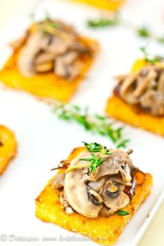Mushroom Polenta Squares - crispy fried polenta squares topped with caramelized onions and mushrooms {vegan}