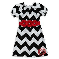 Lolly Wolly Doodle Kids Holiday Clothing.  Girl's Christmas Dress.  Black Chevron Red Rhinestone Flower Sash Dress.  lollywollydoodle.com