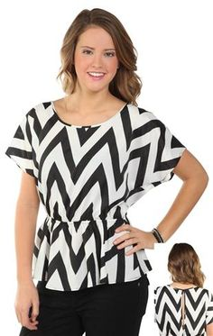 chevron print top with elastic waist and partial open back