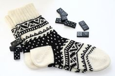 Back to school Black-and-white warm autumn Scandinavian pattern knit wool short socks CUSTOM MADE