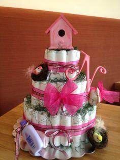 Bird-Themed Baby Shower Diaper Cake