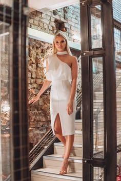 Scuba High Neck One Shoulder Midi Dress in White High Heels Outfit, Black High Heels, High Heels Stilettos, High Heel Boots, Comfortable High Heels, One Shoulder, White Dress, Mini Skirts, Formal Dresses