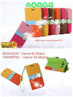 Bling leather diamond case for apple and samsung mobile phone case
