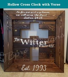 "Hollow Cross Clock with Verse. 24""x24"" - This product is made from pine wood. It's stained with Minwax brand stain. It is hand cut and assembled. It will have two hooks attached to the back to allow for easy hanging. The clock parts are purchased from a local craft store. The name and verse are hand painted on."