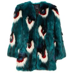 Meadham Kirchhoff Calandra faux fur coat (81.077.265 IDR) ❤ liked on Polyvore featuring outerwear, coats, jackets, fur, coats & jackets, meadham kirchhoff, multi coloured faux fur coat, blue faux fur coat, fake fur coat and multi coloured coat