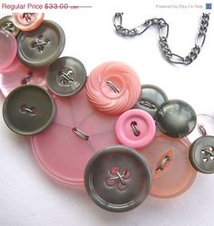 Big Light Pink and Gray Vintage Button Bib Necklace by buttonsoupjewelry,