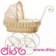 #carritosdemuñecas Carritos de muñecas antiguos - Cochecito de mimbre beig