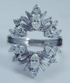 Estate Jewelry 14K White Gold 1.75cts VVS-FG Diamond Wedding Guard Cage Ring