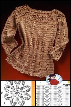 Pull Crochet, Crochet Jumper, Thread Crochet, Crochet Cardigan, Crochet Paisley, Boho Crochet Patterns, Fillet Crochet, How To Purl Knit, Crochet Fashion