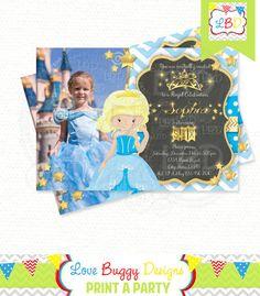 Princess Party Birthday Invitation Glitter by lovebuggydesigns