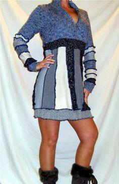 Pixie Sweater Dress Upcycled Sweaters Blue Gray Tan --WINTER CLEARANCE /  50% OFF--