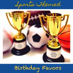 Melly Moments: Thrift It Thursday: Sports Party Freebies! Kids Sports Party, Sports Birthday, 3rd Birthday, Sports Party Favors, Birthday Ideas, Custom Trophies, Goodie Bags For Kids, Party Bags, Party Party