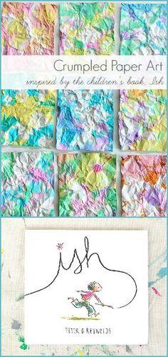 Such a fun process to try! (Crumpled Paper Art for Kids- inspired by the children's book, Ish!)~ BuggyandBuddy.com Art Activities For Kindergarten, Art Projects For Kindergarteners, Art Activities For Preschoolers, Children Art Projects, Kids Art Lessons, Process Art Preschool, Preschool Art Lessons, Art Therapy Activities, Art Therapy Projects