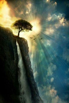 Amazing sunset sun rays painting inspiration! Tree, waterfall and beautiful sky.