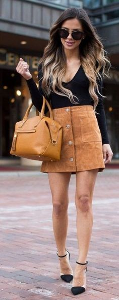 #business #casualoutfits #spring | Black Bodysuit + Camel Suede Skirt | Mia Mia Mine