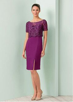 Graceful Lace & Chiffon Bateau Neckline Sheath Mother of the Bride Dresses With Beadings