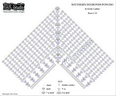 Crochet Shawls Southern Diamonds (Poncho) Stitch Diagram Right-Handed by ELK Studio - Are you a visual learner? The Southern Diamonds Poncho CAL Week 2 now has a stitch diagram for the right and left-handed person! I hope this helps! Crochet Poncho Patterns, Crochet Scarves, Crochet Clothes, Knitting Patterns, Crochet Skirts, Crochet Diagram, Crochet Chart, Crochet Stitches, Crochet Hook Set
