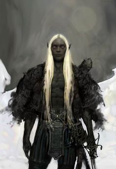 Drow. Hair colors vary as much as human hair in childhood, but begins to grey during puberty as if from old age, usually becoming completely white by adulthood.