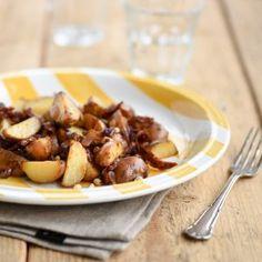 Cherry 'Soleil' Potatoes Almond, Cherry, Pork, Potatoes, Beef, Ethnic Recipes, Kale Stir Fry, Meat, Potato