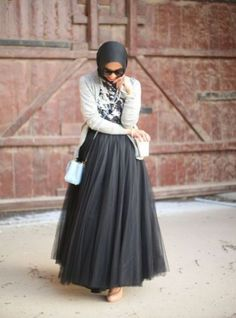 tulle maxi skirt hijab outfit, Hijab trends 2016 http://www.justtrendygirls.com/hijab-trends-2016/
