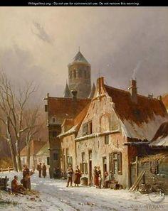 Dutch Street Scene in Winter - Adrianus Eversen