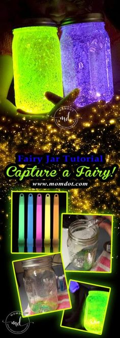 DIY Fairy Jar tutorial, Capture a fairy! Fairy Jar Tutorial: DIY and Capture a fairy! DIY Fairy Jar tutorial, Capture a fairy and light up the night (or bedroom) sky with your very own twinkling fairy. Make a Fairy Jar to showcase your Captured Fairy Fairy Glow Jars, Mason Jar Fairy Lights, Diy Fairy Jars, Jar Lights, Mason Jar Crafts, Mason Jar Diy, Glow Stick Jars, Glow Sticks, Diy Galaxy Jar