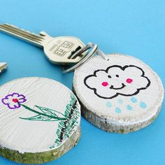 These kid made wooden key chains will make a wonderful gift for any family member or friend!