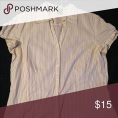 Ann Taylor short sleeve blouse White collared blouse with orange and black thin vertical stripes. Button down, v-neck. Ann Taylor Tops Blouses
