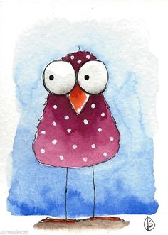 ACEO Original watercolor whimsical painting folk art illustration purple bird #Folkartillustration