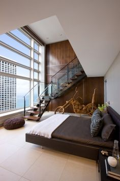 Master bedroom in Chicago's Olympia Centre. James Thomas, LLC.