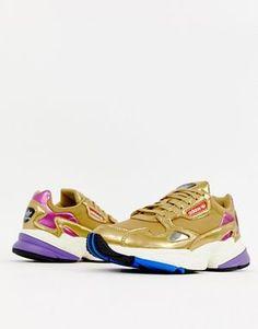 best service 3f13e cc4e6 adidas Originals gold metallic Falcon sneakers Baskets Métallisées,  Plimsolls, Athleisure, Shoes Sneakers,
