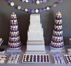 macaron cake wedding Purple Wedding Candy Buffet Table 6 How Much Activity is To Buffet Dessert, Candy Buffet Tables, Candy Table, Dessert Bars, Lolly Buffet, Buffet Set, Buffet Ideas, Purple Dessert Tables, Purple Desserts