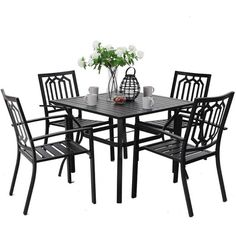 "5pc Metal Indoor/Outdoor 37"" Square Dining Table With Patterned Arm Chairs & 1.57"" Umbrella Hole - Captiva Designs : Target Outdoor Dining Set, Patio Dining, Dining Table Chairs, Arm Chairs, Indoor Outdoor, Steel Dining Table, Square Dining Tables, Dining Furniture Sets, Outdoor Furniture Sets"