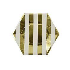Gold Stripe Paper Plates | www.twigsandtwirls.com