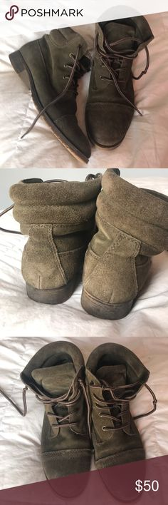 Steve Madden Olive Green Suede Ankle Boot Olive Green Suede Steve Madden Ankle Boot. EUC. Wear on heels. Size 7.5 Steve Madden Shoes Ankle Boots & Booties