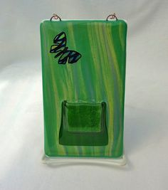 Glass Wall Pocket Vase $20.00 @BPR Designs #vase #wall #glass #fused #pocket #flowers #green #butterfly #handmade #etsy #etsyfollow