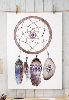 Boho dreamcatcher painted with watercolors.  Sacred feathers and dreamcatcher in hippie style art. High resolution .jpeg ready to be printed  Check out other products from the same series:  https://www.etsy.com/listing/499605948/boho-owl-hippie-art-feathers?ref=listing-shop-header-2  https://www.etsy.com/listing/499608010/boho-feathers-hippie-art-printable-wall?ref=listing-shop-header-0   ZuskaArt : artwork | watercolor painting | ar...