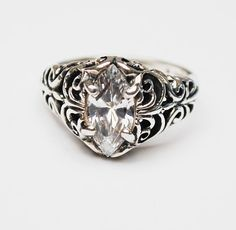 Sterling Filigree CZ ring  Signed Kabana Cubic Zirconia
