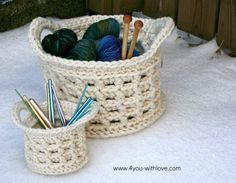 Crochet Basket...free pattern via 4 YOU with Love blog