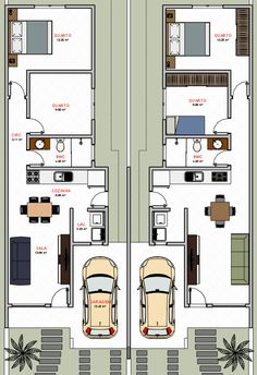 This is how I would design my rental units! Narrow House Plans, My House Plans, House Floor Plans, Duplex House Plans, Apartment Floor Plans, 2 Storey House Design, Small House Design, House Layout Plans, House Layouts