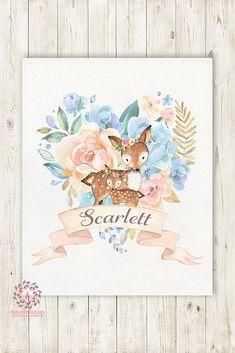 Deer Fawn Woodland Boho Wall Art Print Baby Girl Name Nursery Personalized Bohemian Floral Printable Decor