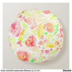 Cute colorful watercolor flowers round pillow Soft Pillows, Throw Pillows, Vibrant Colors, Colorful, Round Pillow, Watercolor Flowers, Soft Fabrics, Shapes, Texture
