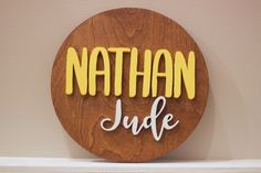 Decorate your nursery with this stylish, modern wooden name sign! Everything is hand crafted with a whole lot of love!  Each piece will be cut, sanded, painted and stained by hand. The stain may vary due to the grains and knots from the wood. That is what makes your sign so unique! Personalized Wooden Signs, Wooden Name Signs, Wood Names, Wood Signs, Name Plaques, Wood Letters, Handmade Wooden, Knots, Grains