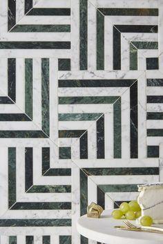 KELLY WEARSTLER X ANN SACKS. 'Liaison Mulholland Large' stone patterned tiles