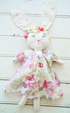 """""""Lola"""" hand crafted bunny in 100% cotton made in Los Angles, USA by Everbloom Studio"""