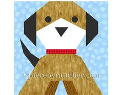 This friendly and cuddly Puppy Dog block paper piecing quilt pattern includes detailed paper piecing patterns and assembly instructions to sew a 6 inch (15.24 cm) block. If you need another size, use the percentages chart enclosed to enlarge or reduce the quilt block pattern