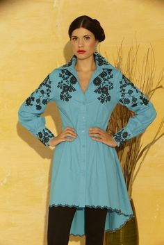#411B – Turquoise Black Embroidered Fit & Flair Blouse