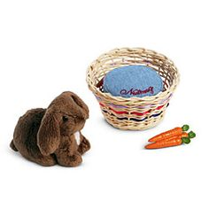 Julie's Pet Bunny  Item# F6312  Julie loves staying at Dad's house because she gets to see Nutmeg, her chocolate-colored, lop-eared bunny. Includes a rattan basket bed and a removable pillow personalized with Nutmeg's name, plus a bunch of pretend carrots that Julie's best friend, Ivy, can feed the rabbit while Julie is away.