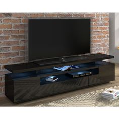 Orren Ellis Delrosario TV Stand for TVs up to 90 inches Colour: Dark Grey Living Room Storage, Living Room Tv, Storage Spaces, Tv Storage, Contemporary Entertainment Center, Floating Entertainment Center, Entertainment Centers, Led Tv Stand, Floating Tv Stand