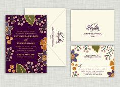 Autumn Gold Wedding Suite #wedding #autumn #purple #gold